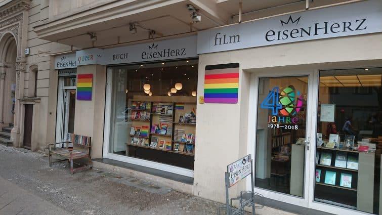 Devanture de la plus vieille librairie gay, Prinz Eisenherz