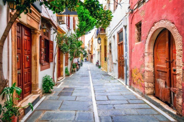 Belles rues de la vieille ville de Rethymno.L'île de Crète, Grèce