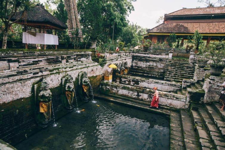 Fontaine au Temple Goa Gajah, Ubud, Bali, Indonésie