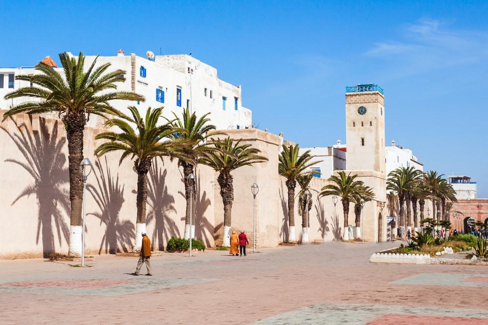 Tour d'entrée de la Médina et murs de la vieille ville d'Essaouira, Maroc