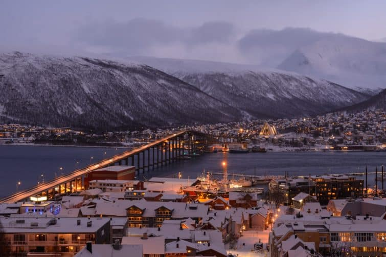 Tromsø bridge and Arctic Cathedral in dusk