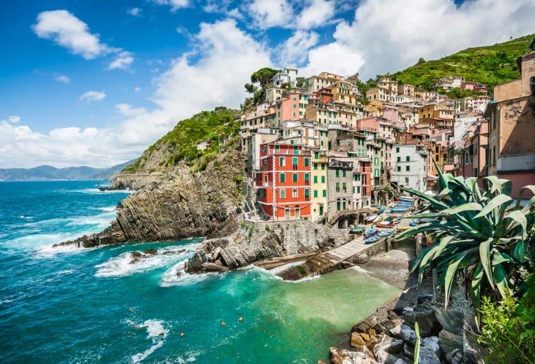 Vue panoramique sur le village de Riomaggiore, Cinque Terre, Toscane