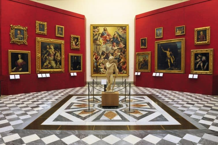 Intérieur de la Galerie des Offices, Florence, Italie