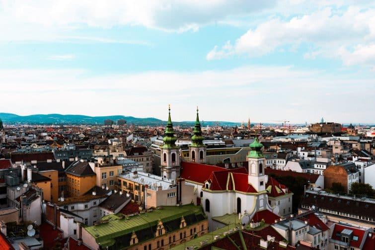 Vue aérienne du centre de Vienne
