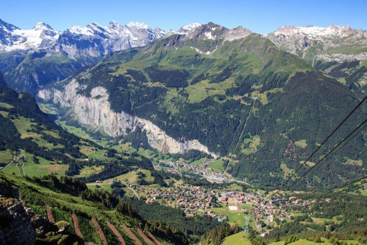 Vue depuis la télécabine, Männlichen, Wengen, Suisse
