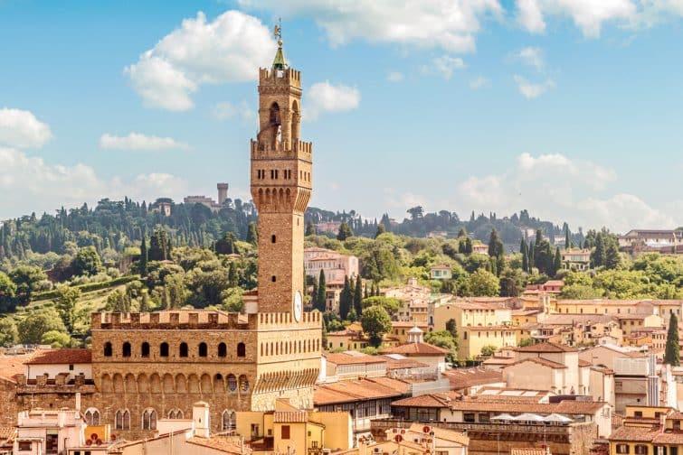 Vue sur le Palazzo Vecchio, Florence, Italie