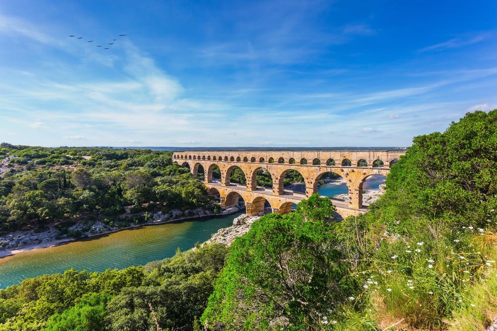 Pont du Gard, vu de la rive droite