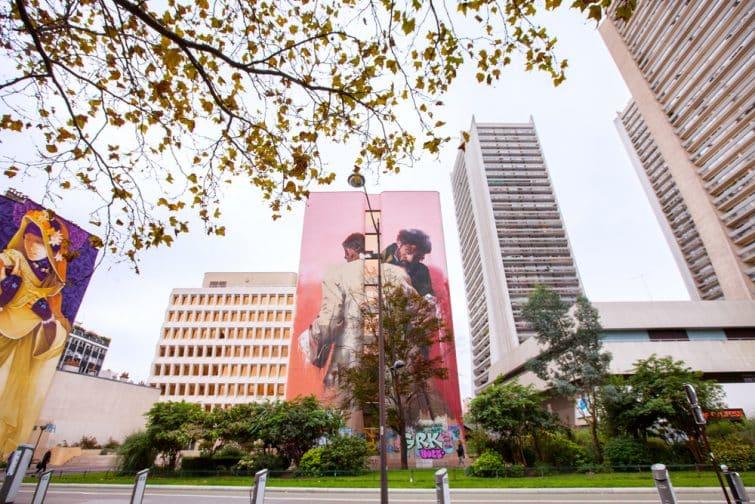 Oeuvre de street art sur un immeuble du 13ème arrondissement à Paris