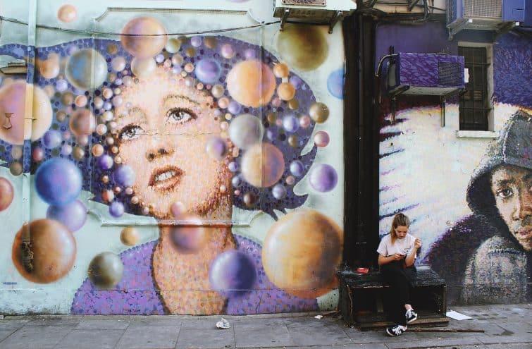 Mur de street art à Shoreditch, Londres
