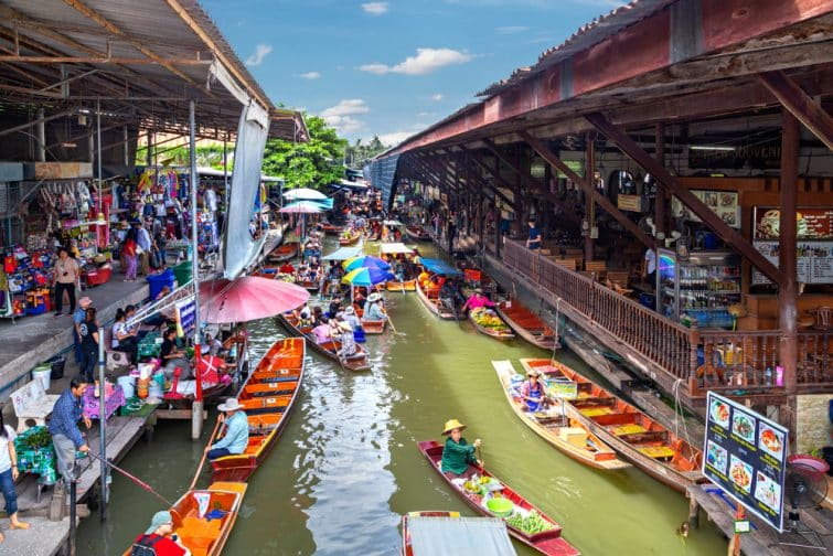 Marché flottant de Damnoen Saduak, Bangkok