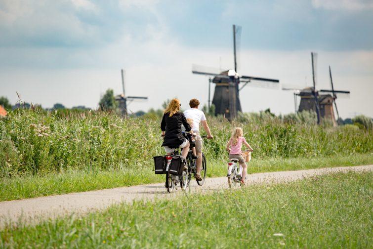 Balade à vélo aux moulins de Kinderdijk, Pays-Bas