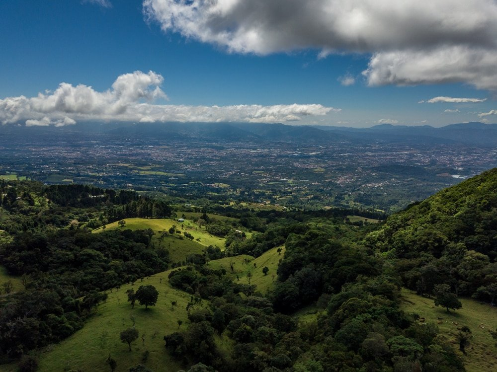 Beautiful aerial view of Barva volcano in Costa Rica