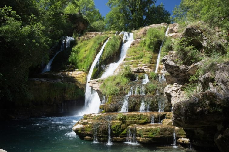 Cascade of Cirque de Navacelle. Fabulous waterfall of Navacelle in Occitanie - France - Europe