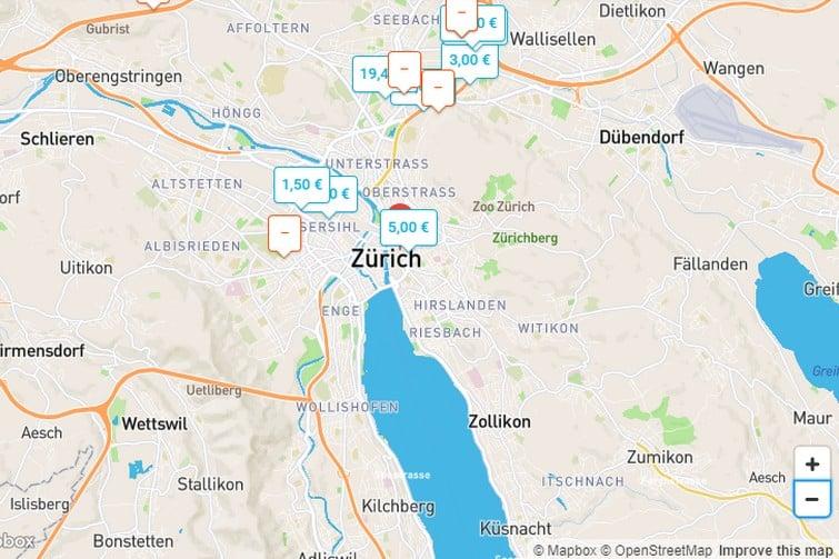 Carte OnePark de Zurich