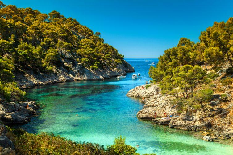 Magnifique point de vue depuis la forêt, la baie de Calanques De Port Pin, le parc national des Calanques près du village de pêcheurs de Cassis, Provence, Sud de la France, Europe