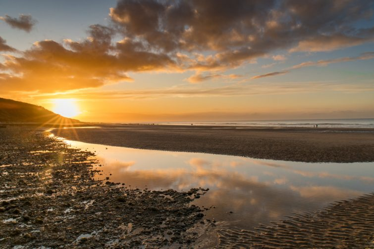 Visiter la Côte Fleurie : Couché de soleil sur la plage de Villers-sur-Mer