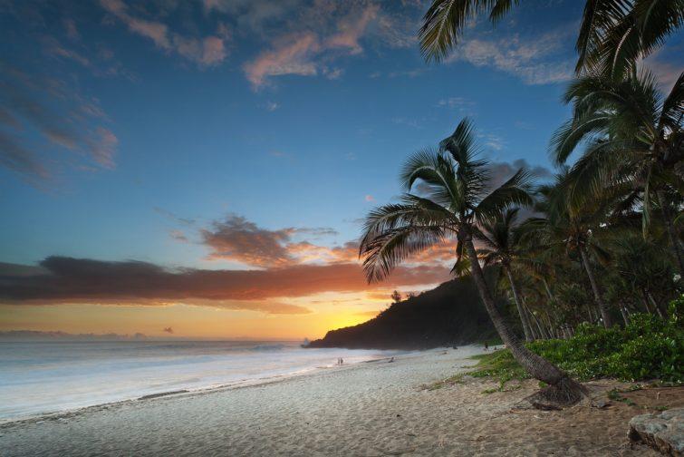 La plage de Grande-Anse a couché de soleil, ile des Saintes