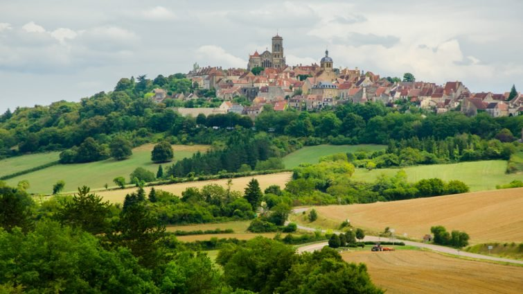 Vezelay, FRANCE - CIRCA AUGUST 2015 Panorama of Vezelay, Burgundy, France