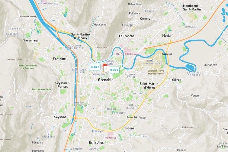 Carte Onepark Grenoble
