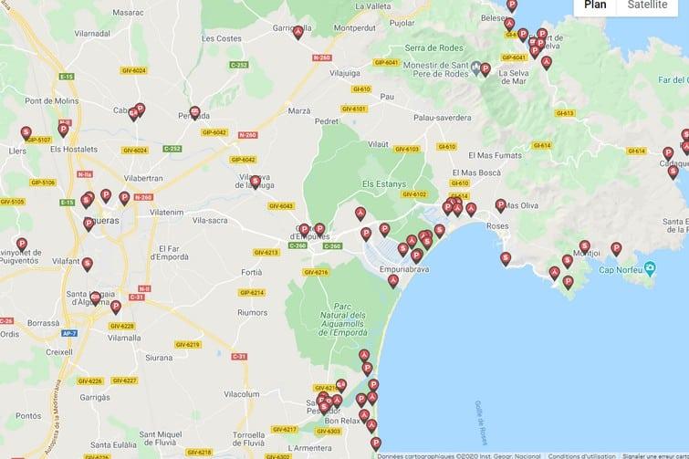 Carte Caramaps de la Costa Brava