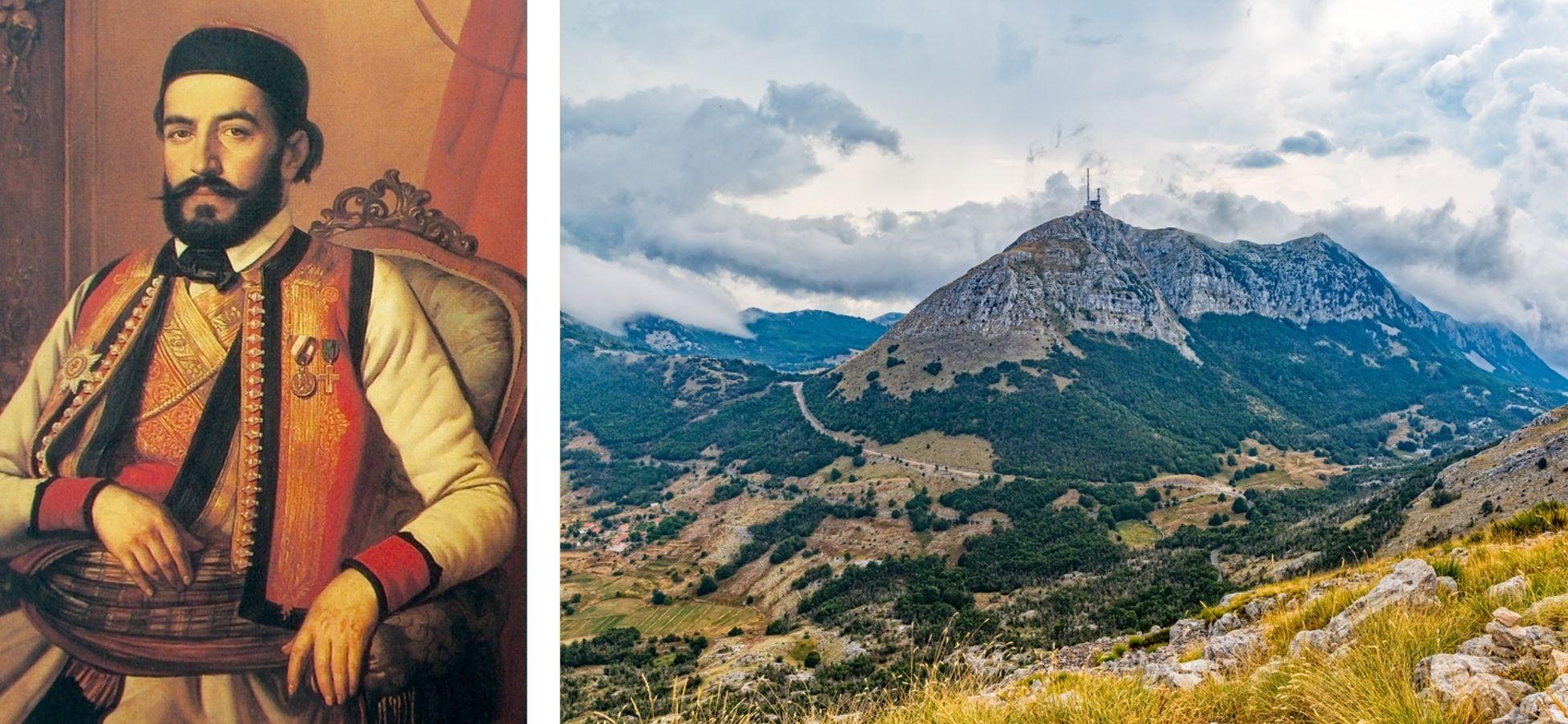 Cetijne et le Mont Lovcen