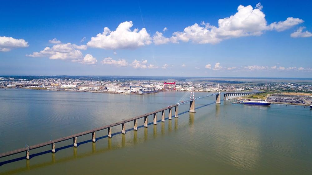Vue aérienne du port de Saint Nazaire