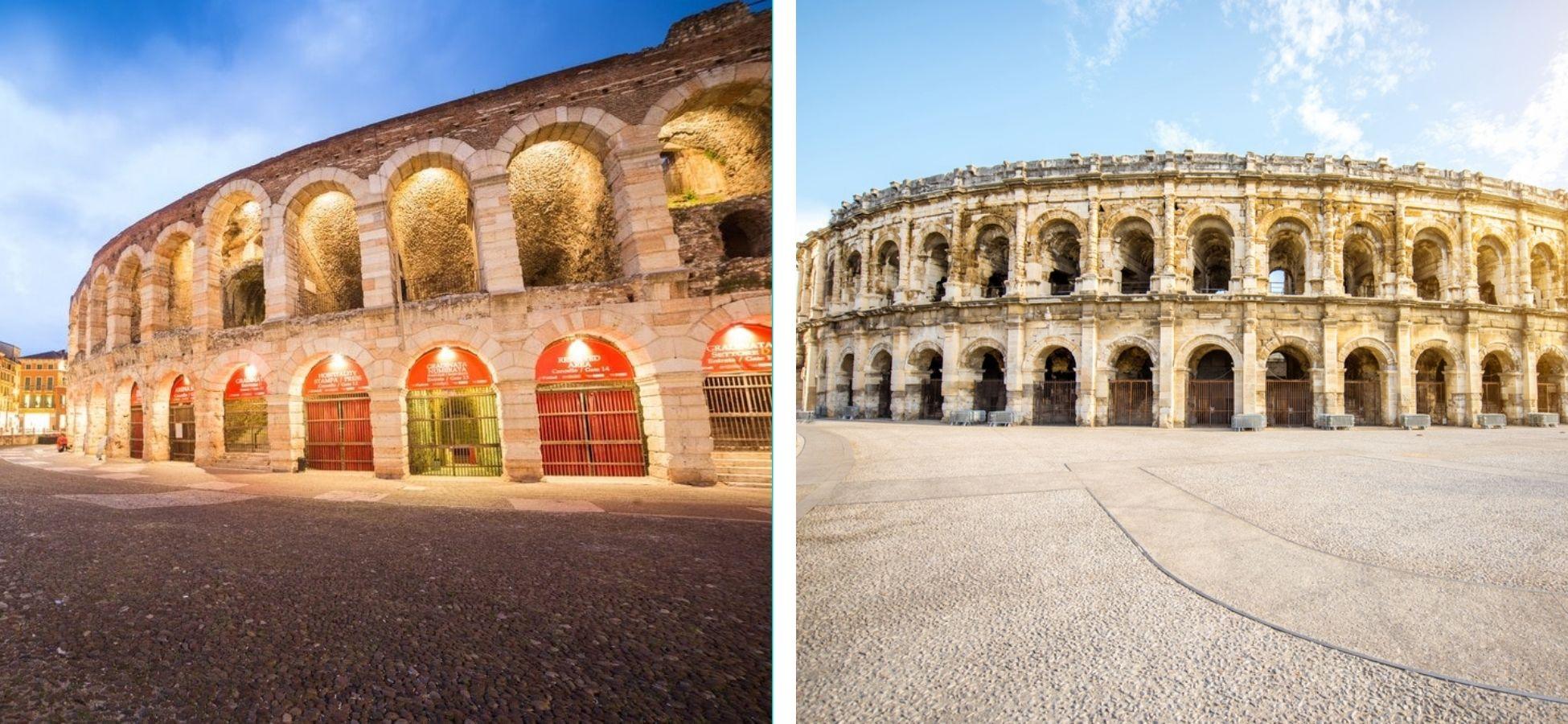 Arènes de Vérone et Nîmes