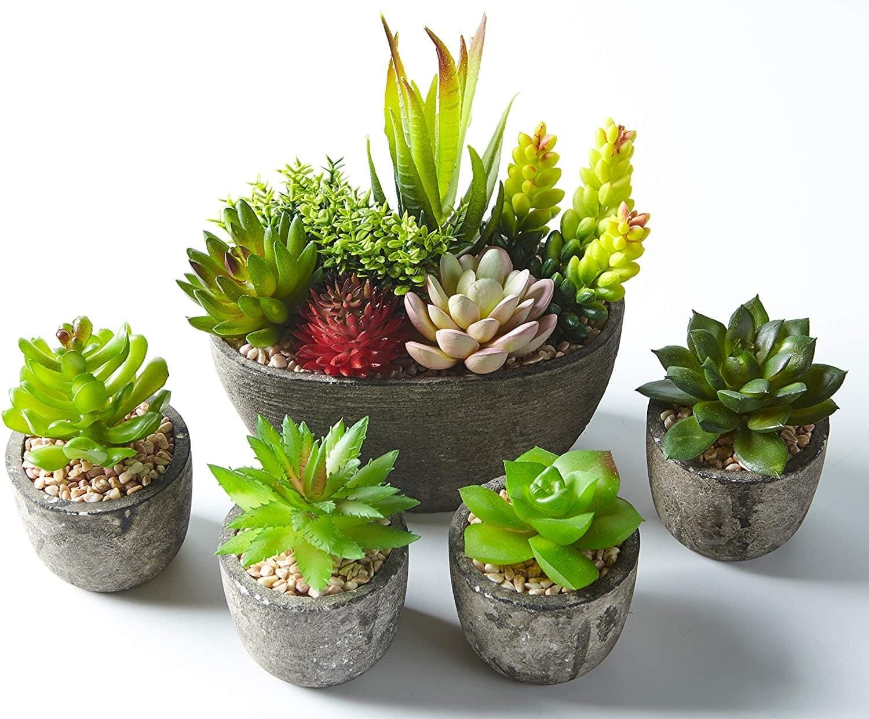Lot de 5 pots de plantes artificielles