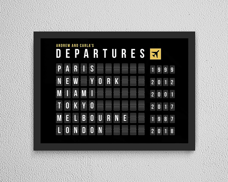 Un tableau sur le thème des affichages d'aéroport
