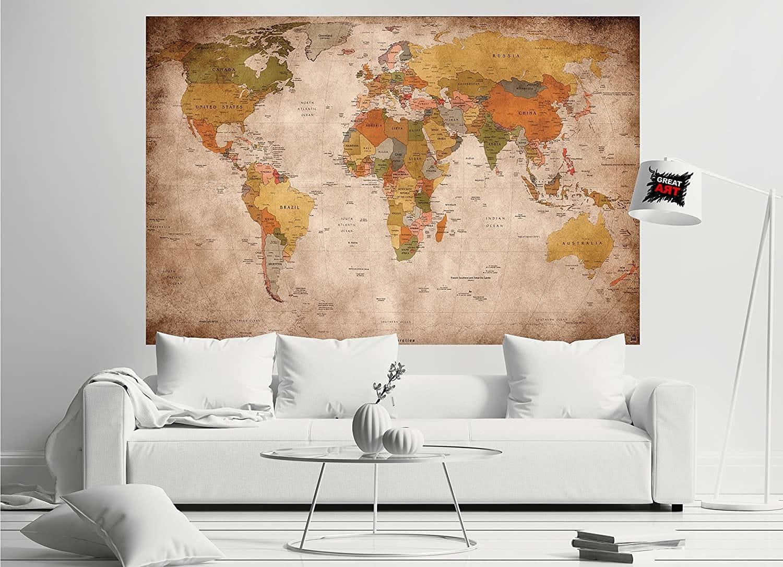 Une carte du Monde rétro en guise de décoration murale