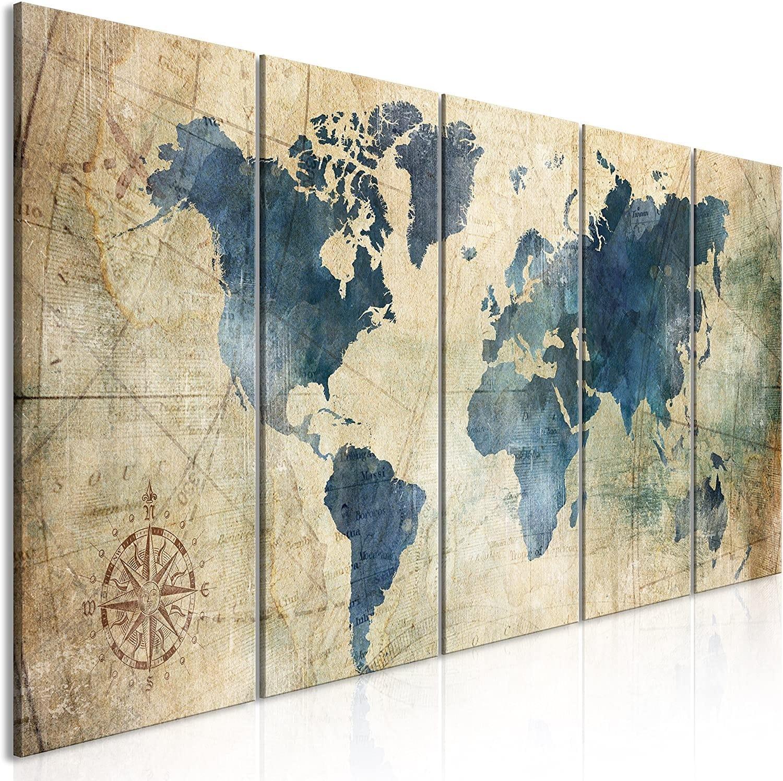 Une carte du monde en tableaux en guise de décoration murale
