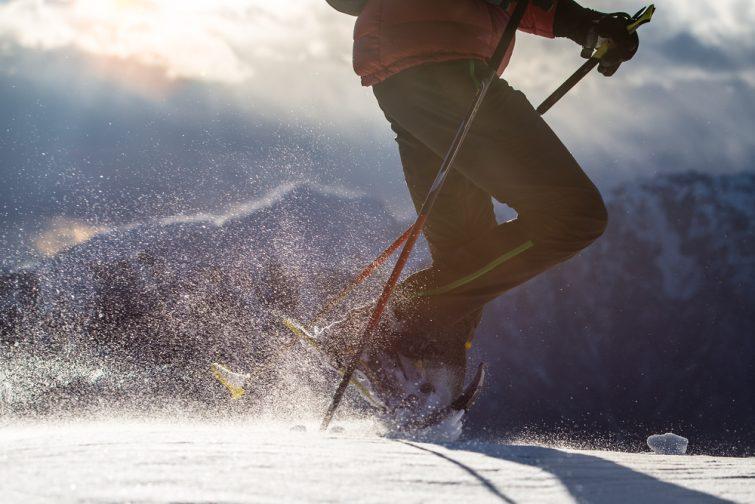 Closeup raquettes, sport d'hiver