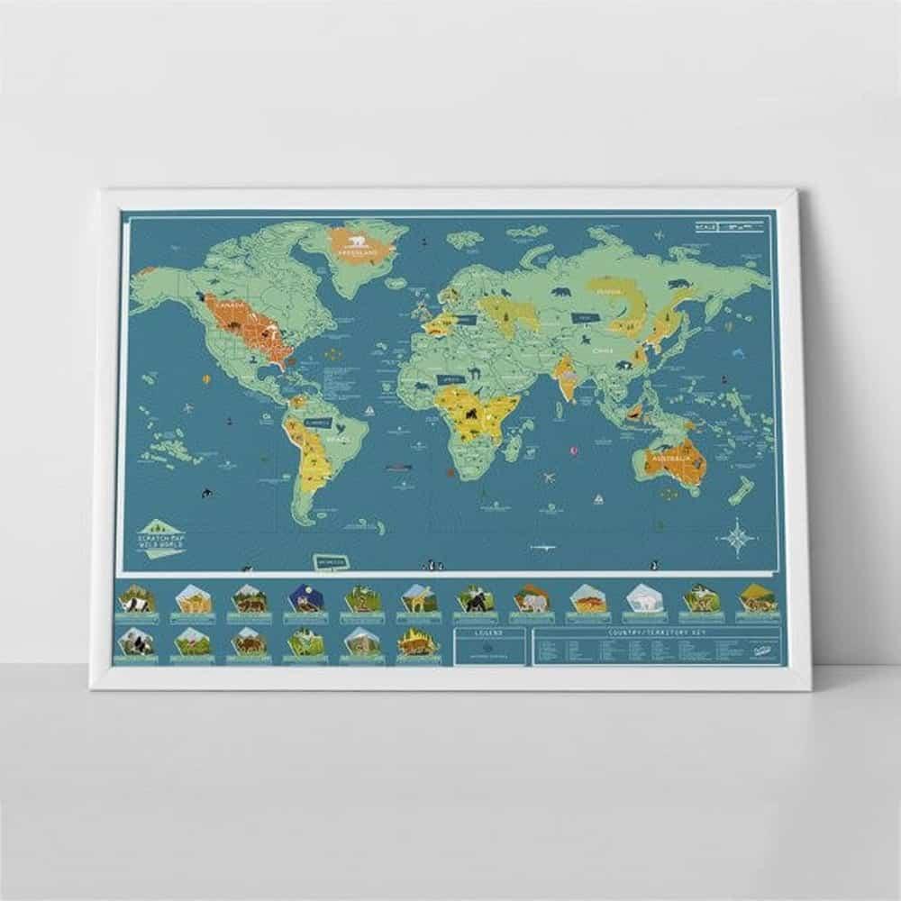 Une carte des animaux du monde à gratter