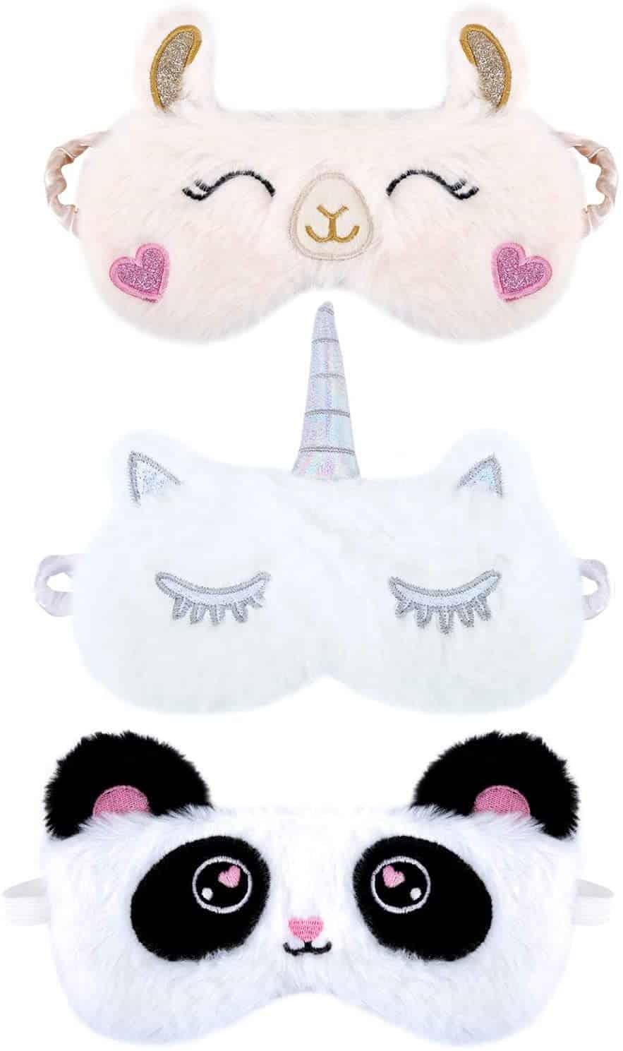 3 masques sommeil en forme d'animal mignon