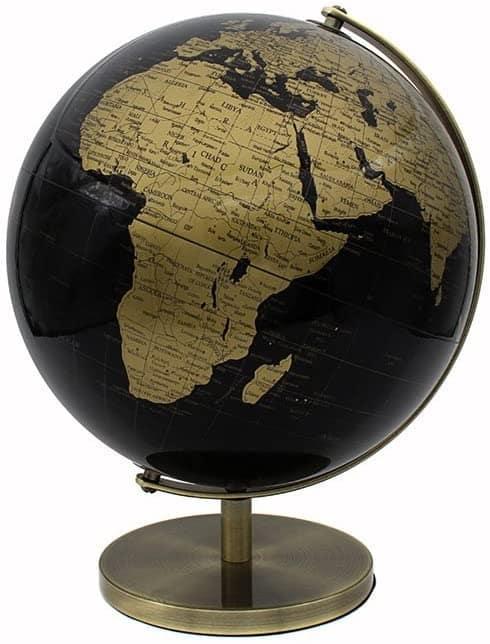 Un globe Terrestre doré et noir