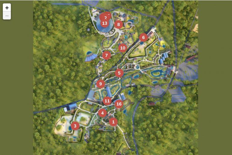 Plan des restaurants du zoo de beauval