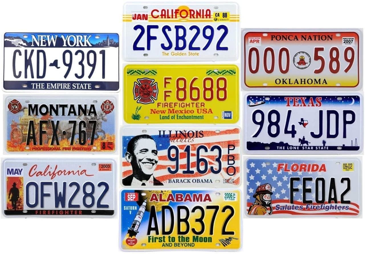 Un lot de 10 plaques d'immatriculations américaines