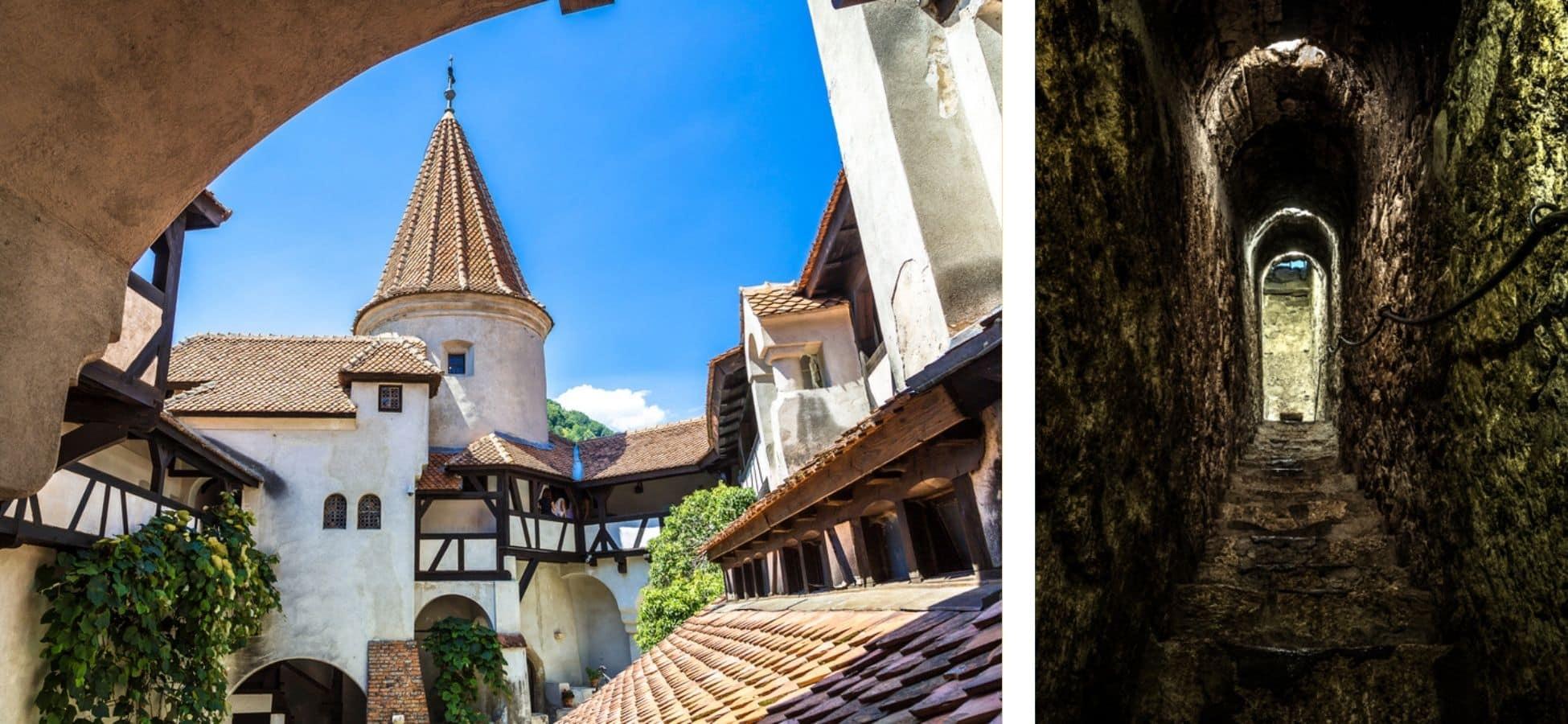 Cour et passage secret du Château de Bran