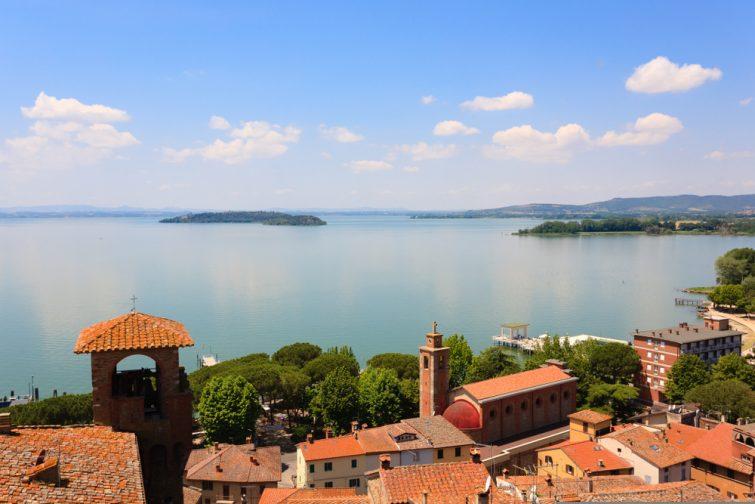 Lake,Trasimeno,View,From,Passignano,Sul,Trasimeno,Castle,,Italy.,Italian
