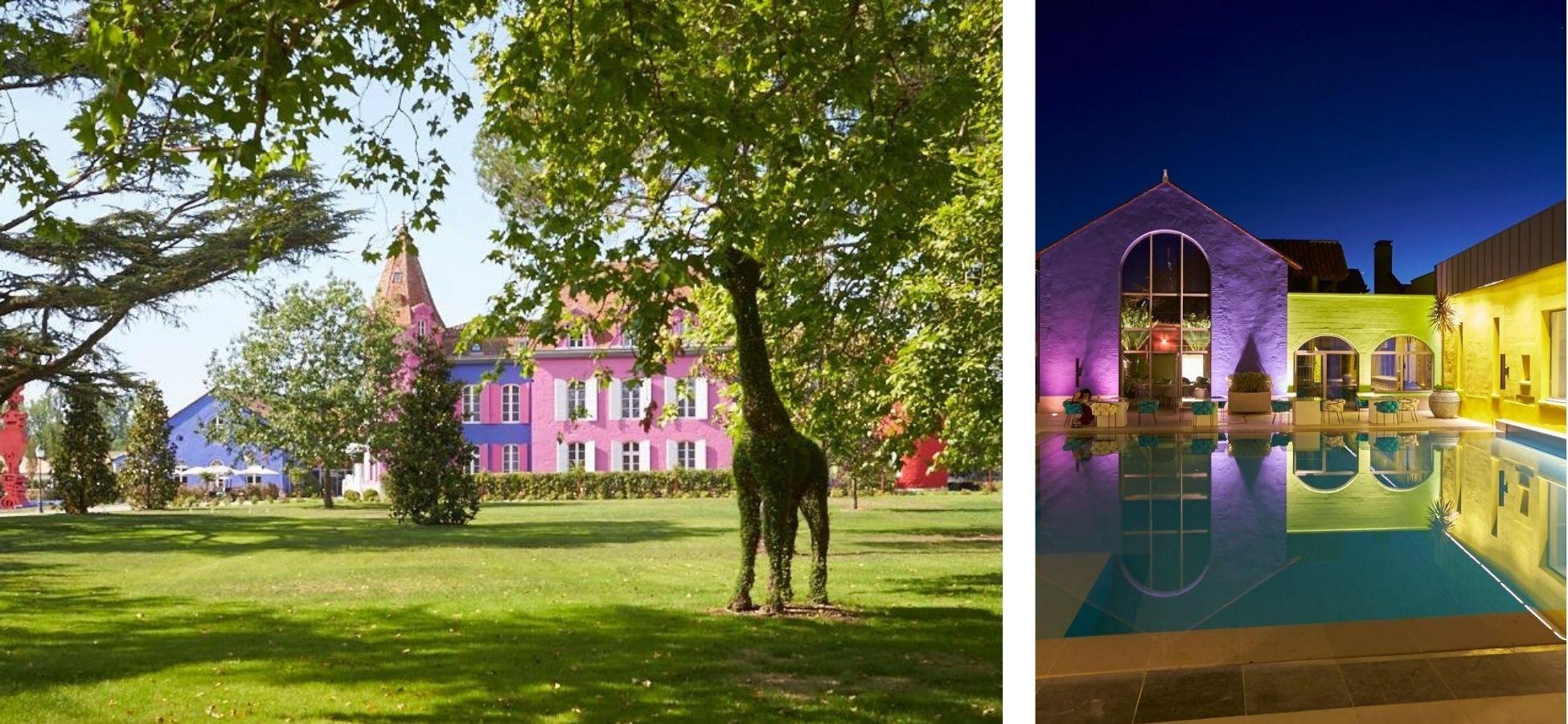 A gauche et à droite : chateau de Stelsia