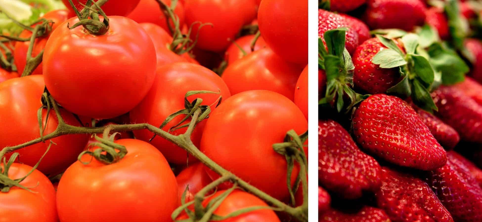 A gauche : des tomates |à droite : des fraises