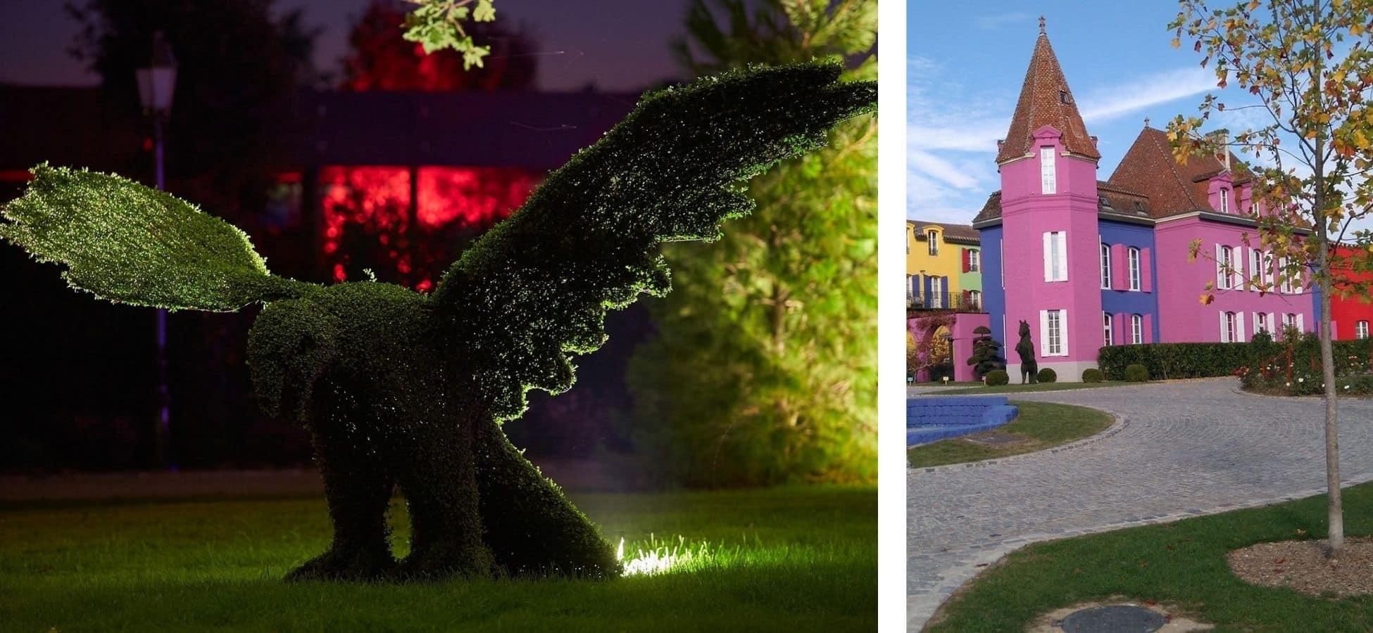 A gauche : une topiaire en forme d'aigle au Stelsia | a droite : le chateau Stelsia