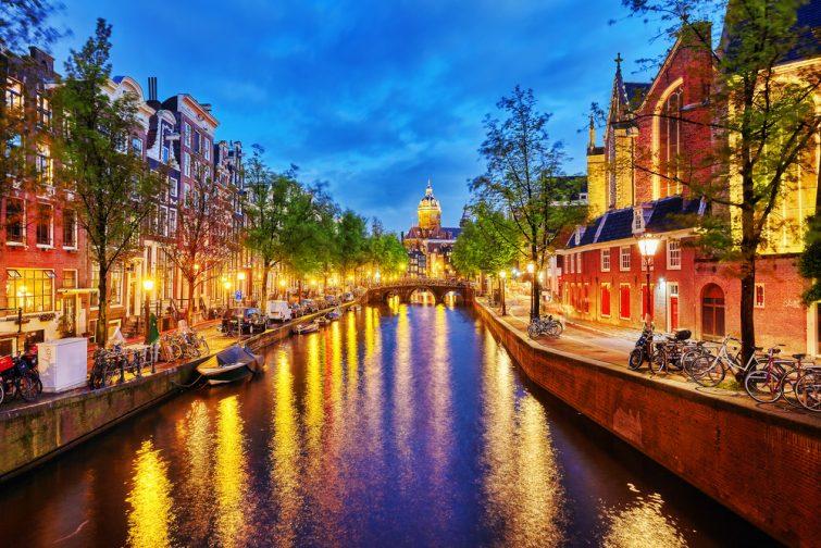 Le quartier Joordan de nuit, Amsterdam