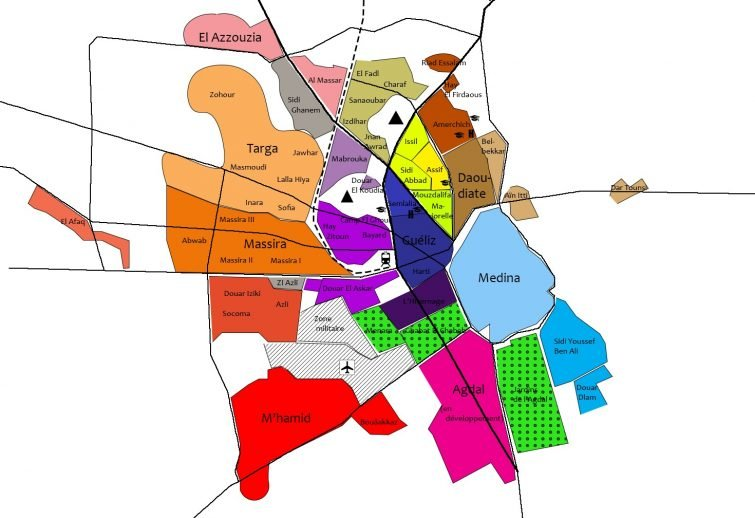 Carte Quartiers Marrakech