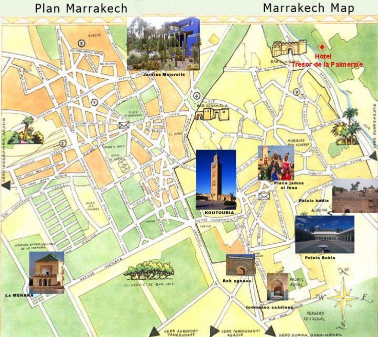 carte marrakech lieux connus