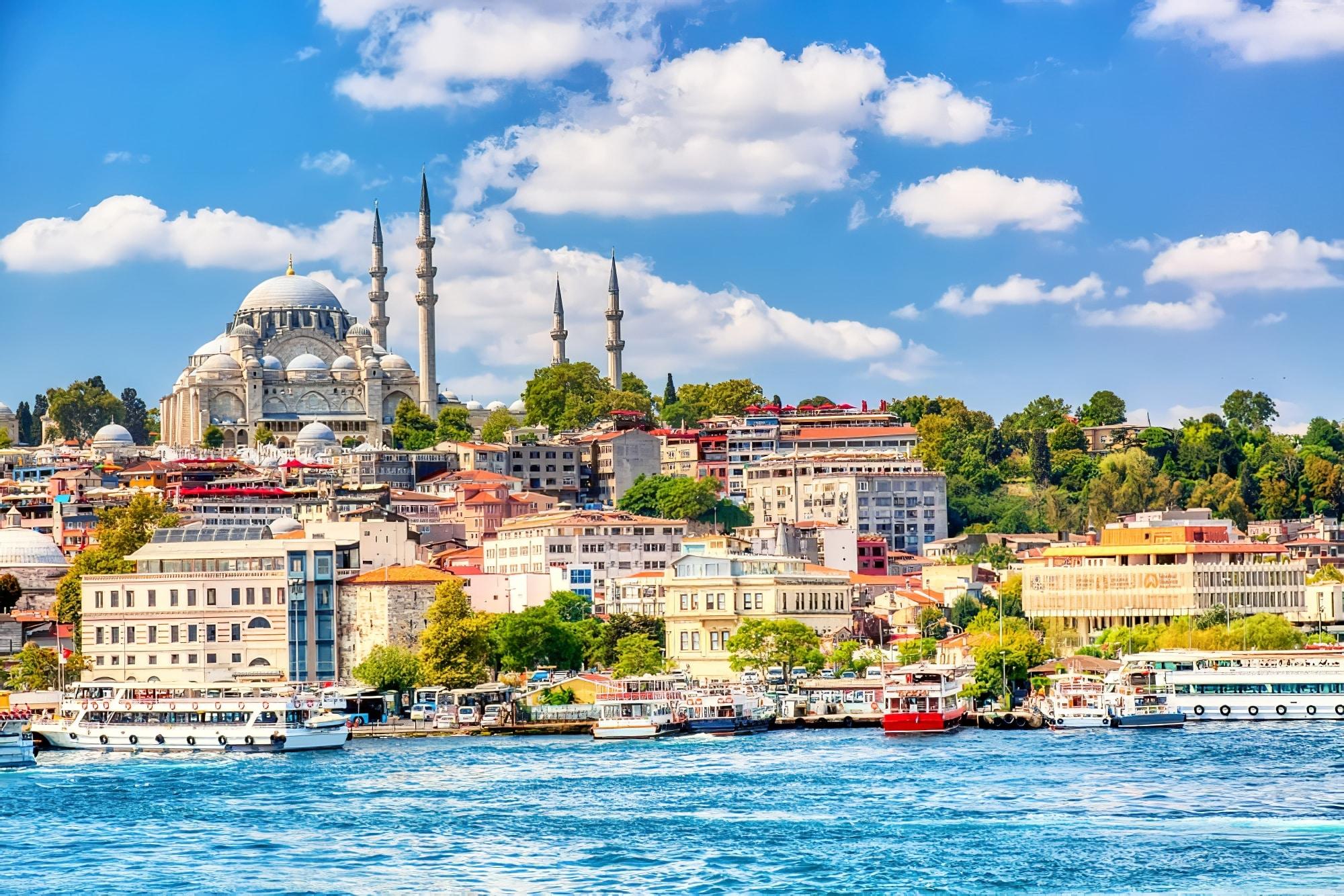 Baie de la Corne d'Or d'Istanbul et vue sur la mosquée de Souleymaniye
