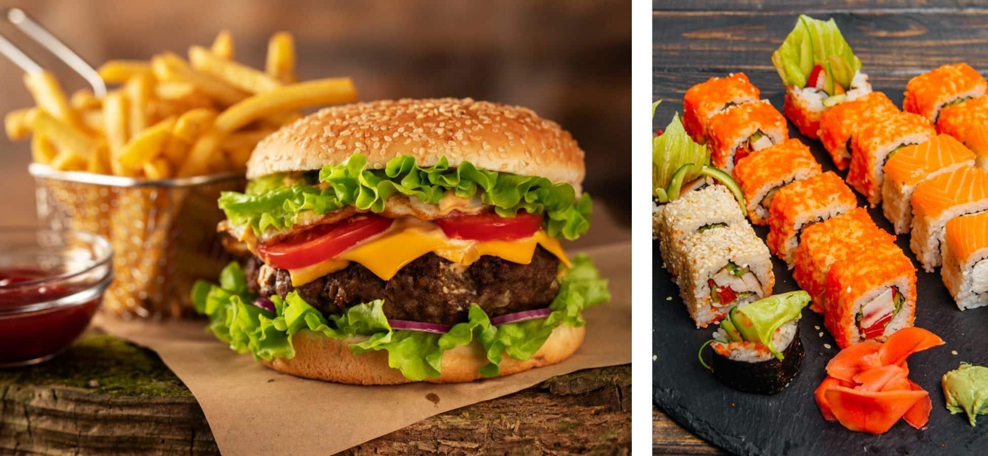 Hamburger VS Sushi