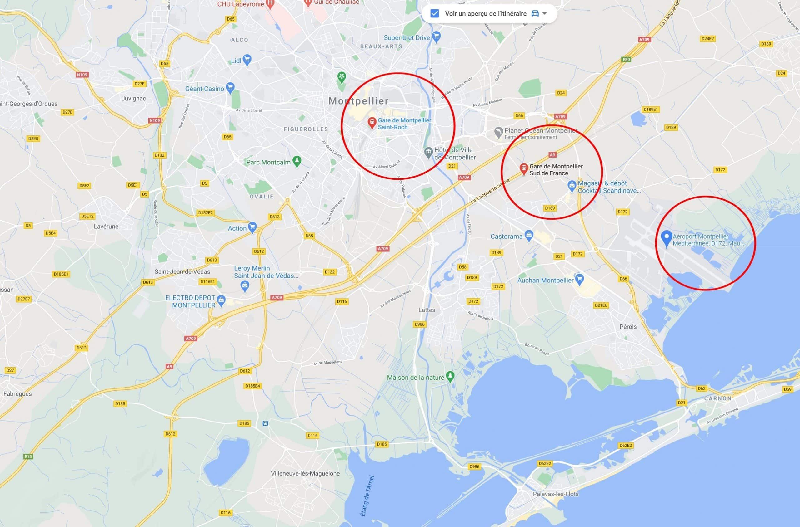 Plans des Gares et de l'aéroport