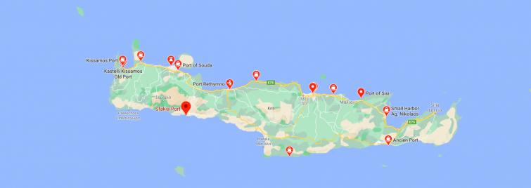 Carte des ports Crète