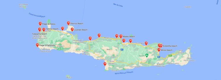 Carte des plages en Crète